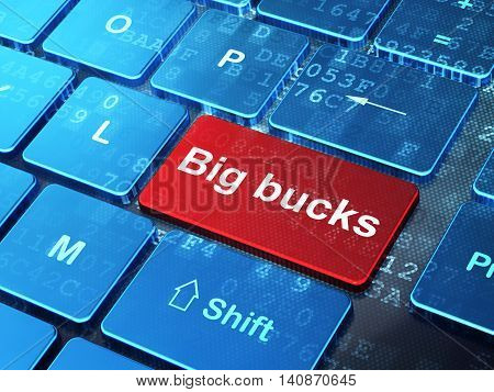 Finance concept: computer keyboard with word Big bucks on enter button background, 3D rendering