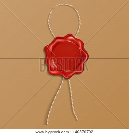 Red wax seal  isolated on a brown background