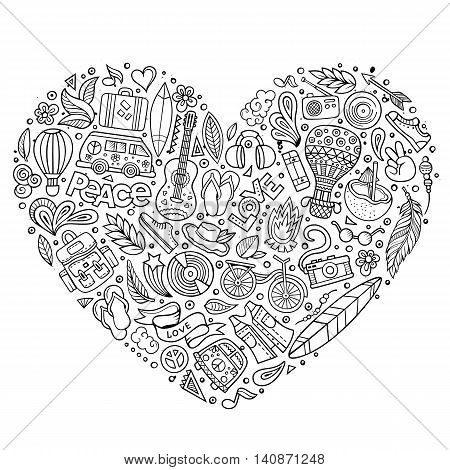 Line art vector hand drawn set of Hippie cartoon doodle objects, symbols and items. Heart form composition