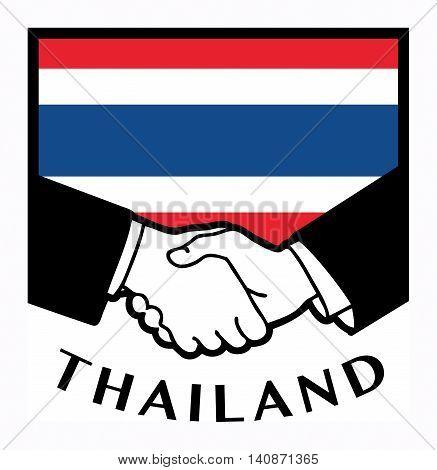 Thailand flag and business handshake, vector illustration