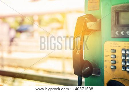 Phone booth of the old railway station.