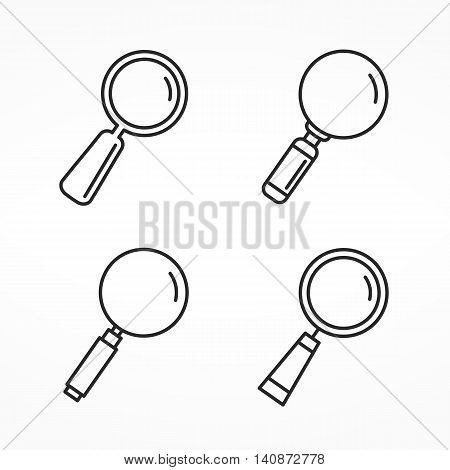 Set of four different line icons of magnifying glass, minimal line icons zoom icons, vector eps10 illustration