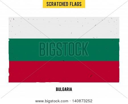Bulgarian grunge flag with little scratches on surface. A hand drawn scratched flag of Bulgaria with a easy grunge texture. Vector modern flat design.