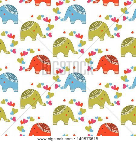 Cute elephants in love pattern. Animals print for children