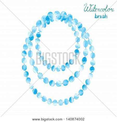 Watercolor beads isolatedn on white. Vector illustration of blue necklace.