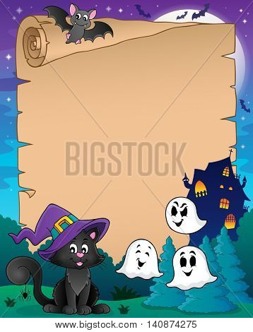 Parchment with Halloween cat - eps10 vector illustration.