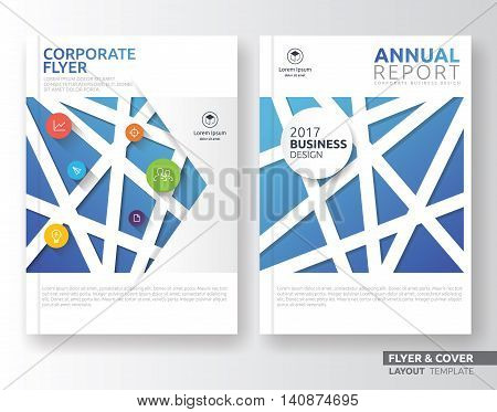 Multipurpose corporate business flyer layout design. Suitable for flyer brochure book cover and annual report. Blue tone in A4 size template background with bleeds.