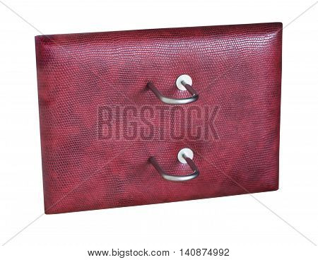 stand under the burgundy leather calendar desk isolated on the white background