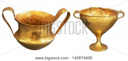 two gold antique greek vase isolated on the white background