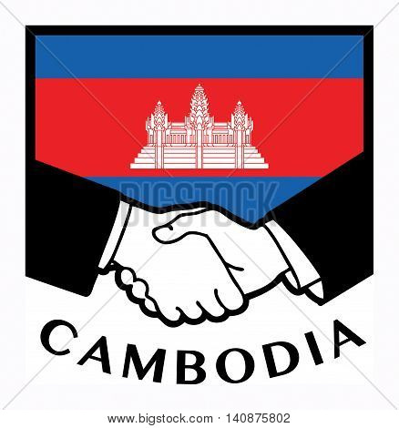 Cambodia flag and business handshake, vector illustration