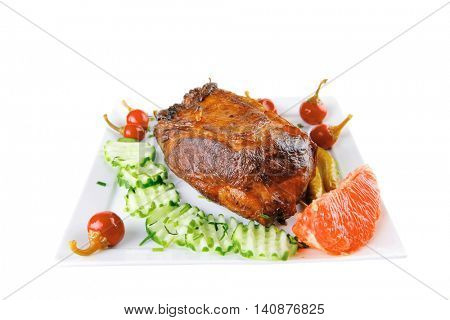 grilled meat and hot papper on white