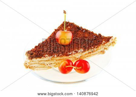 raw cherry and chocolate cake on small transparent
