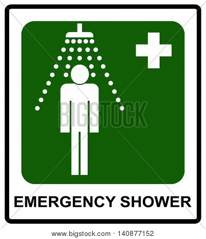 Safe condition sign, Emergency shower symbol Vector sticker for public places