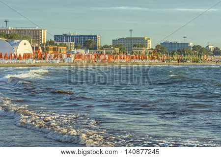 Mamaia Romania - July 20 2016: Mamaia seaside resort. Mamaia is the largest and best known resort on Romanian Riviera. It's situated on an 8km long and 300m wide sandy land strip at the Black Sea.