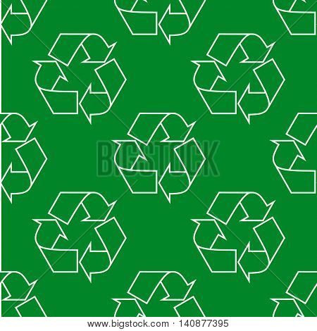 Seamless pattern with ecology signs and icons - abstract background. Recycling sign. Green eco symbol.