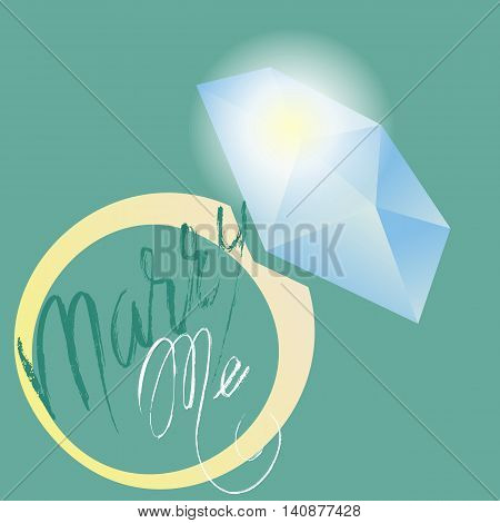Marry me phrase calligraphy. Vector lettering motivational poster or card design. Ring icon. Vector illustration. EPS10