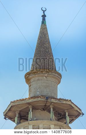 Mosque tower. The Great Mahmudiye Mosque. Grand Mosque of Constanta.