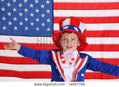 Young boy dressed up like Uncle Sam