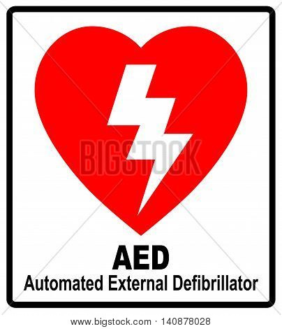 Vector of a red AED Sticker with heart shape and lightning Automated External Defibrillator