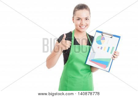 Happy Saleswoman Holding Clipboard With Charts