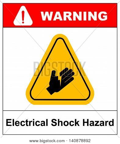 warning electrical shock hazard banner high voltage sign or electrical safety symbol danger electric fence keep off keep away, stop high voltage no entry vector illustration