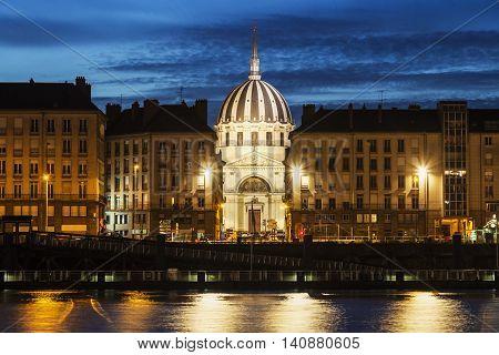 Nantes panorama across Loire River. Nantes Pays de la Loire France