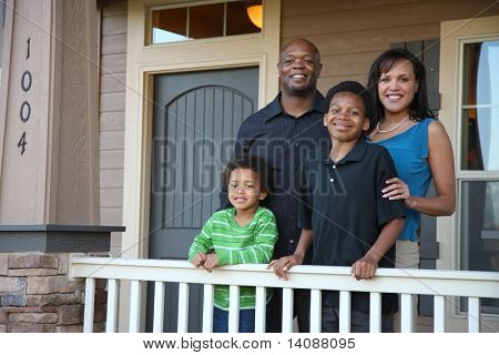 African American family on porch