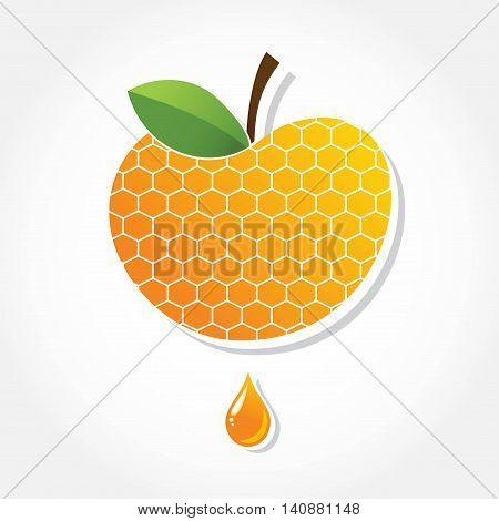Apple icon with honey background. greeting card for Jewish holiday Rosh Hashana. illustration