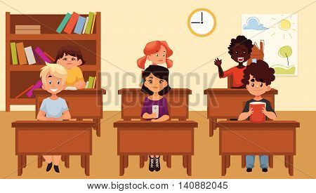 Cartoon illustration of school kids studying in classroom. Diverse school children sitting at their desks in classroom. Lesson on primary school