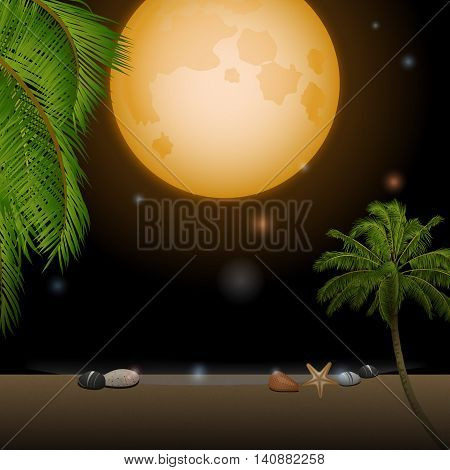 Tropical Beach Under Moonlight with Palm Trees Moon and Stars
