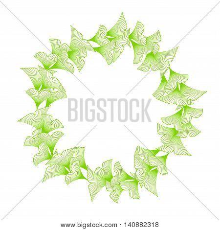 Linear Ginkgo Biloba Leaves Frame On White Background