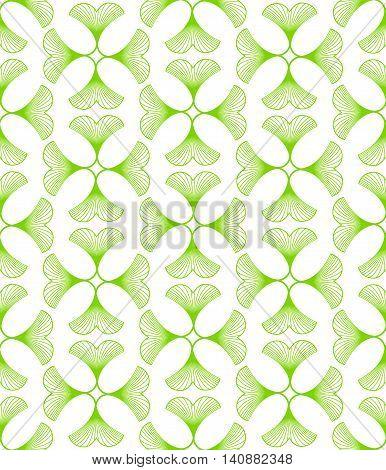 Ginkgo Biloba Leaves Seamless Pattern On White Background