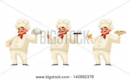 Chef serving food cartoon illustration isolated on white background. Respectable italian chef in hat and uniform serving dish sushi pizza. Set of same cook holding different dishes
