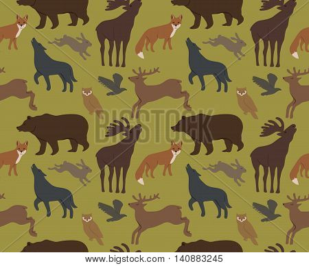 Seamless background with wild forest animals isolated on white