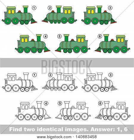 The design difference. Vector visual game for kid education. Simple level of difficulty. Easy educational game. Task and answer. Find two similar Locomotives.