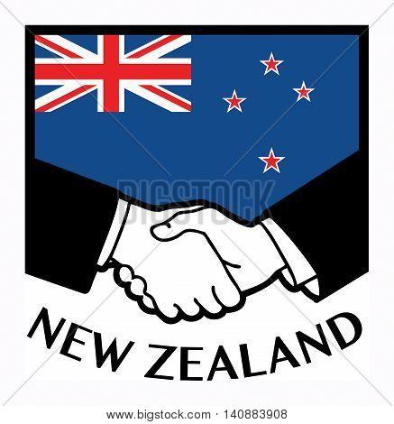 New Zeland flag and business handshake, vector illustration