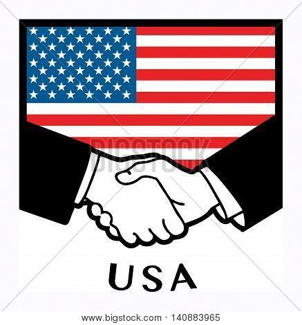USA flag and business handshake, vector illustration