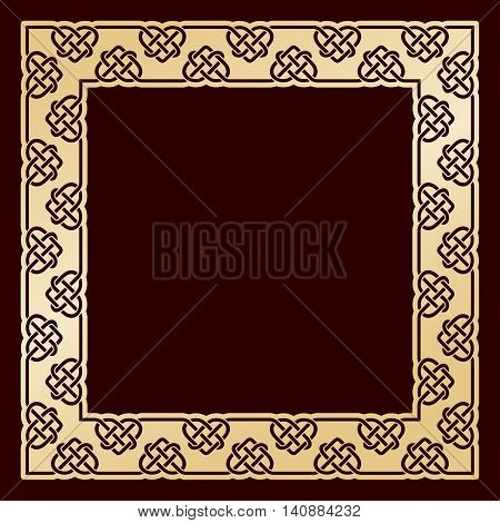 Openwork square golden frame with celtic motif. Laser cutting template for greeting cards, envelopes, wedding invitations, decorative interior elements.
