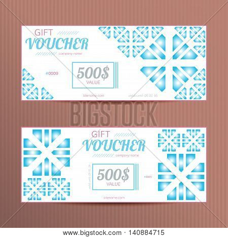 Vector gift vouchers. Discount cards for winter sales.