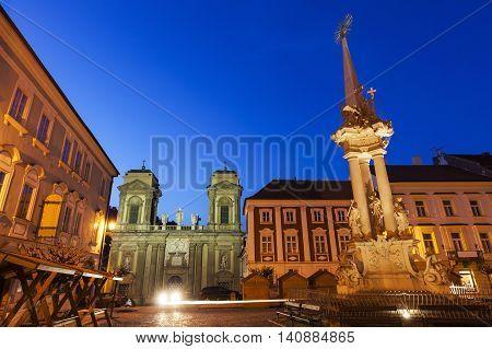 St. Anne's Church on Main Square in Mikulov. Mikulov South Moravian Region Czech Republic.