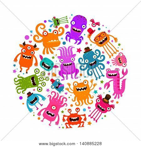 Happy Halloween. Cute monsters or microbes. Cartoon vector illustration