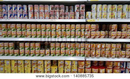 Rows Of Sweetened Creamer Inside Hypermarket