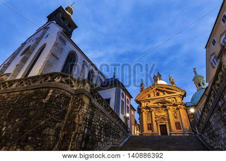 Graz Cahtedral and Katharinenkirche. Graz Styria Austria.