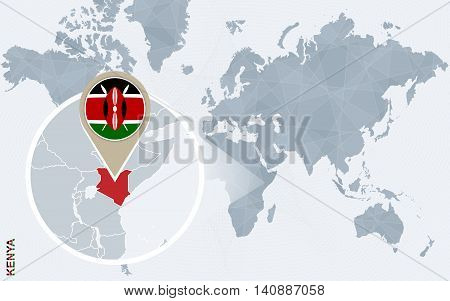 Abstract Blue World Map With Magnified Kenya.
