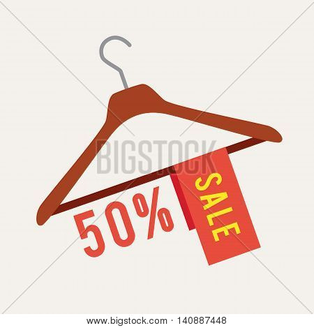 Vector illustration of clothes hanger with tag Sale