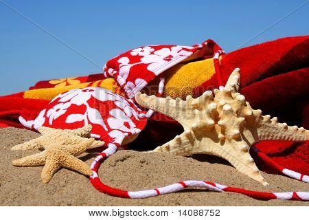 Bikini Top, Seestern mit Strand-Handtuch im sand