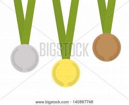 Set of three medals containing: gold-medal silver-medal bronze-medal with laurels and green ribbons.