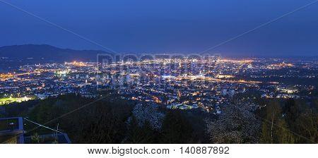 Panorama of Linz. Linz Upper Austria Austria.