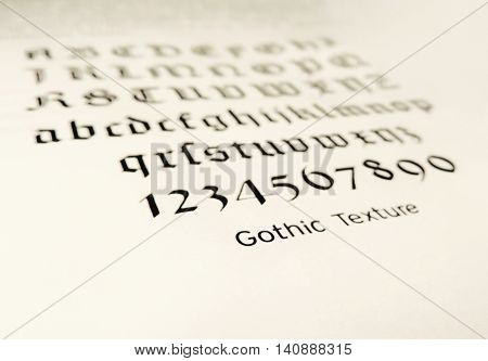 Instruction for calligraphy, alphabet letters. Numbers and letters.