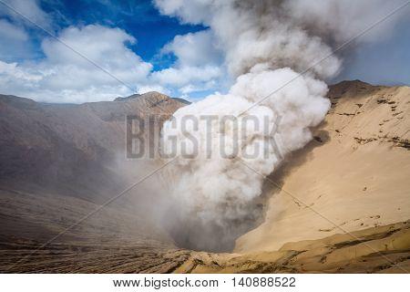 Crater of Bromo volcano in Bromo Tengger Semeru National Park East Java Indonesia